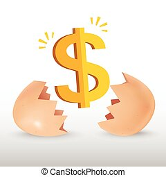 Dollar icon with egg