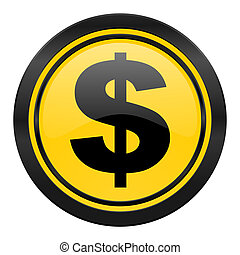 dollar icon, yellow logo, us dollar sign