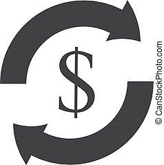 dollar, illustration, arrière-plan., vecteur, flèche noire, blanc, icône