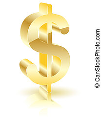dollar - Illustration of gold sign is a dollar, on a white...
