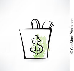 dollar in a paper bag grunge icon