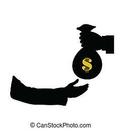 dollar in bag in hand color vector