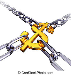 dollar in chains - high resolution rendering of a dollar ...