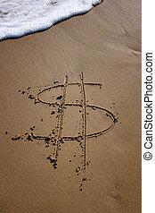 Dollar in danger - Symbol of dollar written on sand on the...