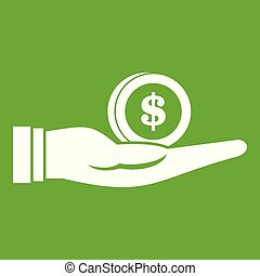 Dollar in hand icon green