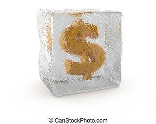 Dollar in ice cube