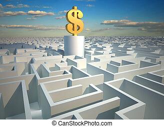 Dollar in maze - Golden dollar symbol sitting in a a huge...