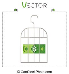 Dollar in money gray cage vector format