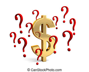 Dollar In Question - A gold dollar symbol encircled by red...