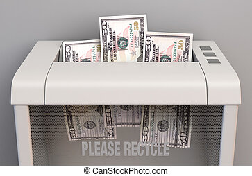 Dollar In Shredder - A regular office paper shredder in the ...