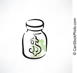dollar in the glass jar grunge icon