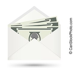 Dollar In White Envelope, Vector icon