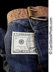 Dollar Incentive - Dollar bill in denim fly