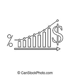 Dollar Increase graph icon, outline style