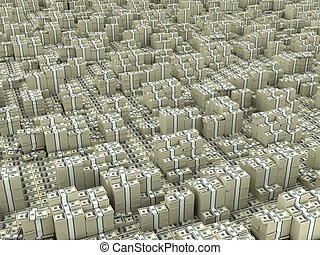 Many paks of dollars in stacks on ground