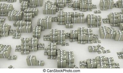Dollar infinity - Many paks of dollars in stacks on white...