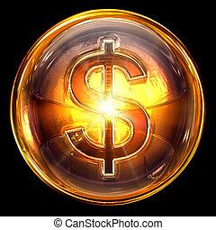 dollar, isolé, brûler, arrière-plan., noir, icône