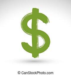 dollar, isolé, fond jaune, blanc, icône, cu, main-peint