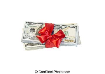 dollar, isolerat, bog, bakgrund, vit röd
