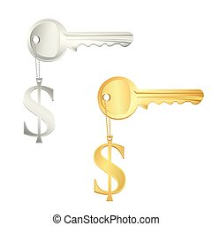 illustration of gold and silver key with dollar on isolated background