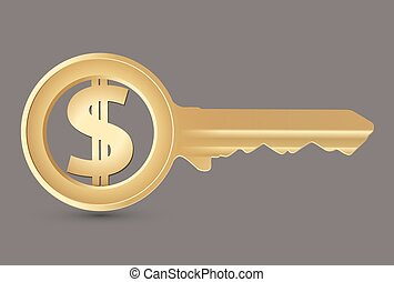 Golden key with dollar symbol on grey background