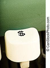 dollar key of typewriter closeup