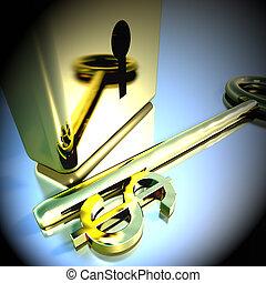 Dollar Key With Gold Padlock Showing Banking Savings 3d Rendering