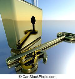 Dollar Key With Padlock Showing Banking Savings And Finance