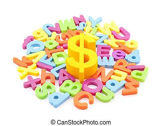 dollar, kleurrijke, symbool, brieven