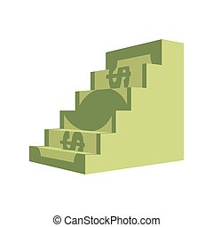 Dollar ladder. Steps out of money. Ascent to wealth....