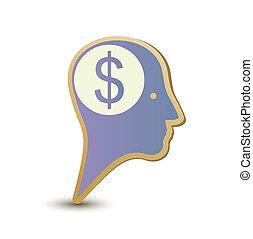 Dollar man. Label sticker. Modern concept