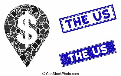 Dollar Map Pointer Mosaic and Distress Rectangle The Us Seals