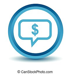 Dollar message icon, blue, 3D