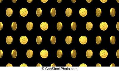 dollar, modèle, vidéo, arrière-plan., monnaie, doré, seamless