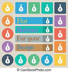 dollar money bag icon sign. Set of twenty colored flat, round, square and rectangular buttons. Vector