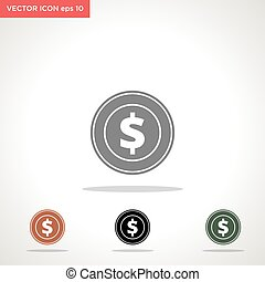 dollar money coin vector icon isolated on white background