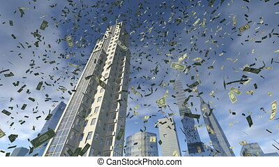 Dollar money fall from above from the sky. A close up of animated paper bills falling down from some modern 3D buildings. At the background of the real skyscrapers is a sunny blue sky with some clouds. This clip is rendered in 4K, ultra high definition. Resolution: 3840 x 2160