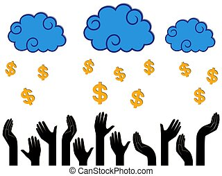 Dollar Money falling from the clouds in the human hands,...