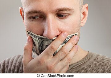 Dollar money gag shut voiceless men - Human silence - dollar...