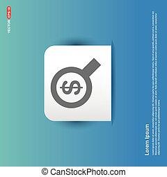 Dollar money icon - Blue Sticker button