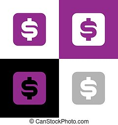 Dollar money icon design, purple square shape symbol