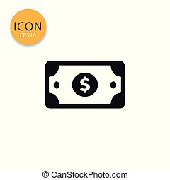 Dollar money paper icon isolated flat style.