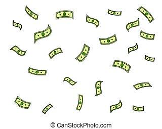 Dollar money rain pop art vector illustration