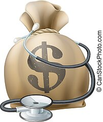 Dollar Money Sack and Stethoscope - Money sack with a...