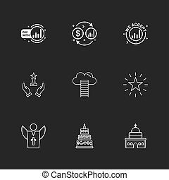 dollar, money, star , church , cake , father ,help , ladders ,eps icons set vector