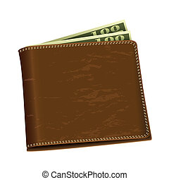 Dollar money wallet - Brown leather wallet with two hundred...