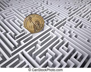 dollar, monnaie, dans, les, labyrinthe, labyrinthe