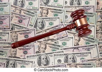 dollar, monnaie, notes, à, gavel., légal, coûts, -, geric