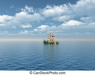 dollar monument - dollar symbol monument at the ocean - 3d...