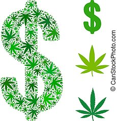 Dollar Mosaic of Weed Leaves